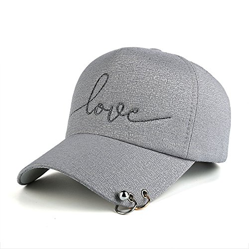 - Adjustable Baseball Cap Love Embroidery Plastic Strap & Metal Rings for Women