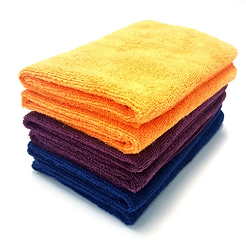 MaxLit- MicroFiber Cleaning Cloth 6 PC Color Pack, 16 x 16 in. (3- Color Pack, Orange/Blue/Purple)