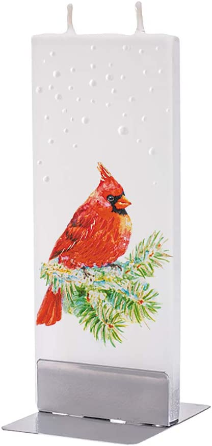Smokeless Unscented Unique Gift Idea and Home D/écor Accent Decorative Dripless Flatyz Hand Painted Flat Candle Motif/'s Cardinal Bird Double Wick with Metal Base