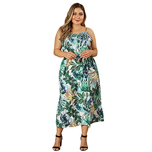 Elegant Leaf Prints Flowy Summer Dresses Women Plus Size Sleeveless Slip Dress Sundress Maxi Dress Flowy Dresses Straight Dresses for Women Plus Size Maxi Dresses Beach Slip On Dress Green XXL ()