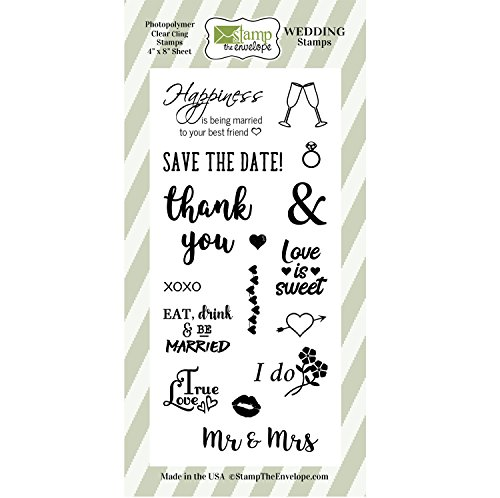Wedding Stamp Set, Clear Cling Photopolymer Wedding Stamps Kit for Announcements, Save the Dates, Envelopes, Favor Tags, (Acrylic Scrapbooking Tags)