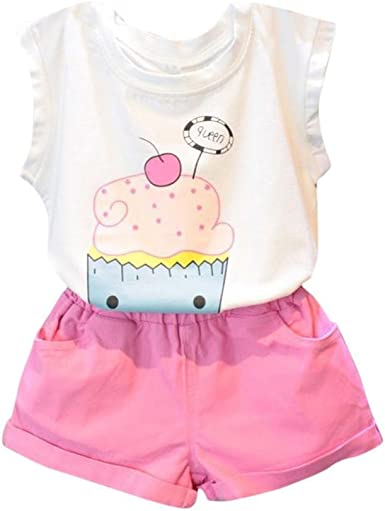 Fabal 2PCS Toddler Baby Kids Girl Outfit Clothes Sleeveless Vest Shirt+Short Pants Set