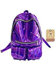 Goodbag Boutique Fashion Girl Backpack Holographic Laser Leather Backpack Bling Glitter Casual Daypack Travel...