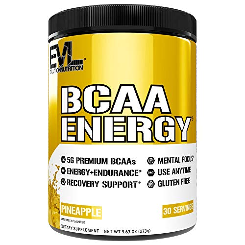Evlution Nutrition BCAA Energy – High Performance Amino Acid Supplement for Anytime Energy, Muscle Building, Recovery and Endurance, Pre Workout, Post Workout (Pineapple, 30 Servings)