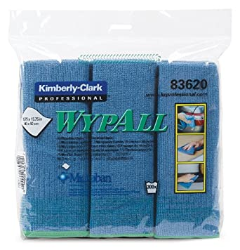 """Kimberly-Clark Wypall 83620 Microfiber Cloths with Microban Protection, 15-3/4"""" Length x 15-3/4"""" Width, Blue (4 Packs of 6)"""