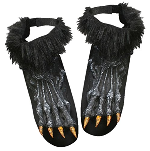 Werewolf Shoe Covers Wolf Halloween Adult Costume Accessory Brown Gray (Twilight Wolf Costumes)