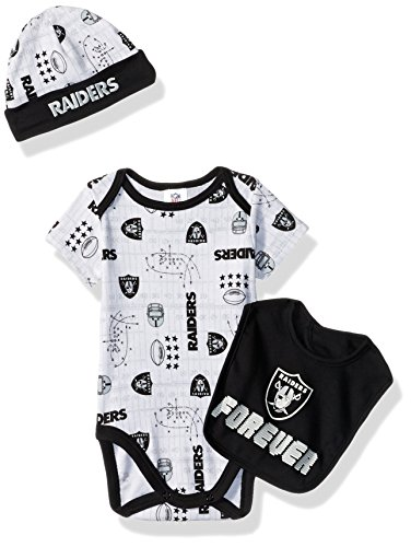 Gerber Childrenswear NFL Oakland Raiders Boys Bodysuit Bib & Cap Set, 0-3 Months, Black