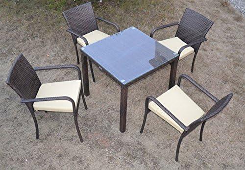 Conjunto de terraza y jardin COSTA 4 sillas mesa 80x80 rattan ...