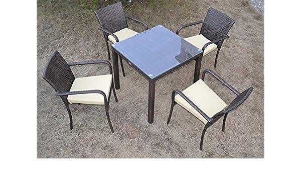 Conjunto de terraza y jardin COSTA 4 sillas mesa 80x80 ...