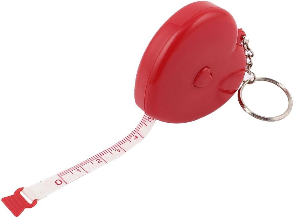 Sourcingmap–® con forma de corazón de plástico retráctil cinta métrica regla llavero 1.5M Rojo