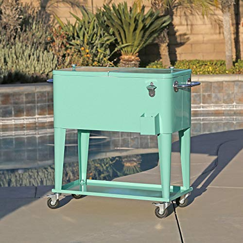 Clevr 80 Quart Qt Rolling Cooler Ice Chest Cart For Outdoor Patio Deck Party Retro Seafoam Portable Backyard Party Bar Cold Drink Beverage Tub Trolley Wheels With Shelf Stand Bottle Opener