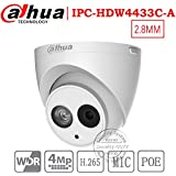 Dahua 4MP Security Camera, IPC-HDW4433C-A, Network Camera, Night Vision, Eyeball Dome IP Camera, 4 Megapixel IR 50M WDR POE H.265 Built-in MiC Weatherproof IP67 2.8mm