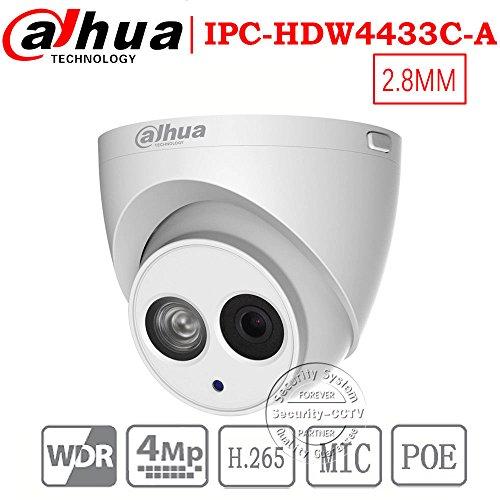 Dahua 4MP Security Camera, IPC-HDW4433C-A, Network Camera, Night Vision, Eyeball Dome IP Camera, 4 Megapixel IR 50M WDR POE H.265 Built-in MiC Weatherproof IP67 2.8mm