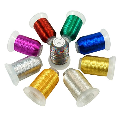 - New Brothread 9 Basic Colors Metallic Embroidery Machine Thread Kit 500M (550Y) Each Spool for Computerized Embroidery and Decorative Sewing