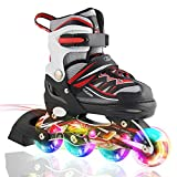 Kuxuan Boy's Ciro Adjustable Kids Inline Skate with Light up Wheels Red M
