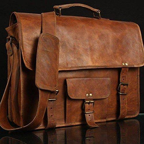Leather Genuine Men's Auth Real Leather Messenger Laptop Briefcase Satchel Mens Bag (11X15)