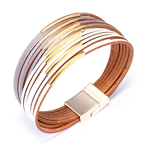 KSQS Boho Multilayer Leather Wrap Bracelets Gorgeous Handmade Braided Wrap Cuff Magnetic Buckle Casual Bangle for Women&Girl Gift by UEUC