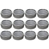 tin container with clear lid - Silver Metal Tin Containers with Tight Sealed Clear Lids - 2 oz (12 Pack)