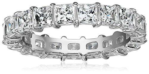 Platinum Plated Sterling Silver Princess Cut Swarovski Zirconia Ring