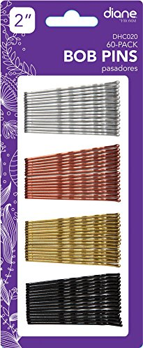 Diane Fromm 60 Pack Bob Pins 2'' Assorted Colors / Colores Variados Black Silver Copper Gold DHC020