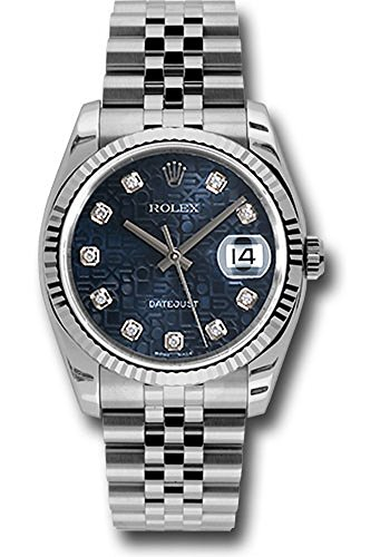 Rolex Oyster Perpetual Datejust 36mm Stainless Steel Case, 18K White Gold Fluted Bezel, Blue Jubilee Dial, Diamond Hour Markers, And Jubilee Bracelet.