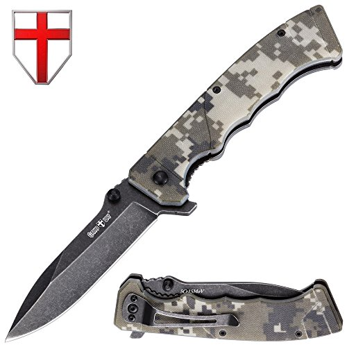 Grand Way Outdoor Folding Knife - Pocket Knife - EDC and Tactical Classic Folding Knives Stainless Steel Blade Camo G-10 Handle with Clip - Best Urban Tourist Fold Knife for Travel and Hiking 11533 by Grand Way