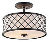Matt Black Metal Ceiling Light with Inner Fabric Shade by Haysoms