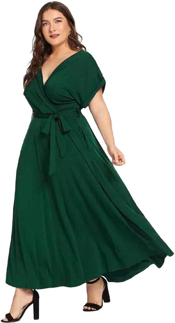 SHINEHUA Damen Sommer Maxikleid Große Größen Kleid V-Ausschnitt