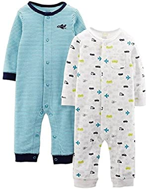 Carter's Just One You Baby Boys 2-Pack Stripe/Cars Planes Jumpsuit