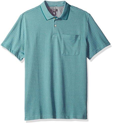 Jade Pique Polo Shirt - Van Heusen Men's Flex Short Sleeve Jacquard Stripe Polo Shirt, Blue Jade, Large