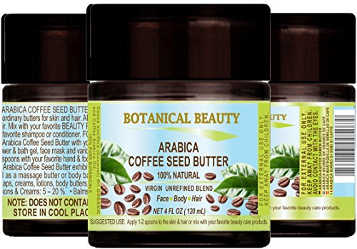 "ARABICA COFFEE Offspring BUTTER 100 % Natural / 100% PURE BOTANICALS. VIRGIN/ UNREFINED BLEND. Cold Pressed. 4 Fl.oz.- 120 ml. For Excoriate, Hair and Nail Care. ""One of the best butters to reduce wrinkles, puffiness, dark circles. Powerful"