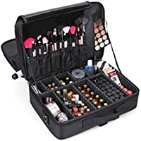 Other Professional Storage Partition Cosmetic Box Three Waterproof Layer Travel Makeup Bag-Black