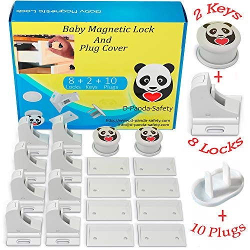 Child Safety Magnetic Cabinet Locks - Invisible Baby Proof Latch Set 8 Locks & 2 Keys Heavy Duty Locking System for Proofing Cabinets Drawers Doors Kitchen with 3M Adhesive (Tools arent Required)