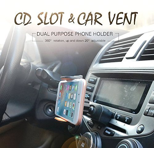 Handaes The new car air outlet bracket and CD port mobile phone support iPhone 6 mobile phone support 6S 6S and 5C 4S 5S, iPod touch, Samsung S6 S5 S4 Galaxy note 4 note 5, Nexus 5, HTC, LG