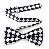TopTie Mens Black & White Checkerboard Pre-Tied Satin Formal Bow Tie offers