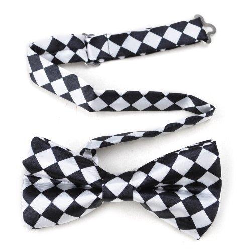 TopTie Mens Black & White Checkerboard Pre-Tied Satin Formal Bow Tie -