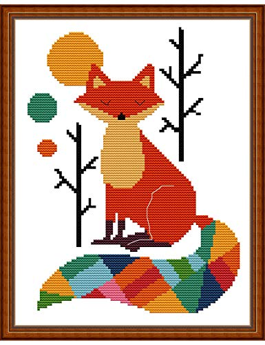Cross Stitch Stamped Kits Pre-Printed Cross-Stitching Starter Pattern for Beginners Adults, 14CT Embroidery Kits Needlepoint Kits The Seven Colorful Fox Pattern for Home Wall Decorations