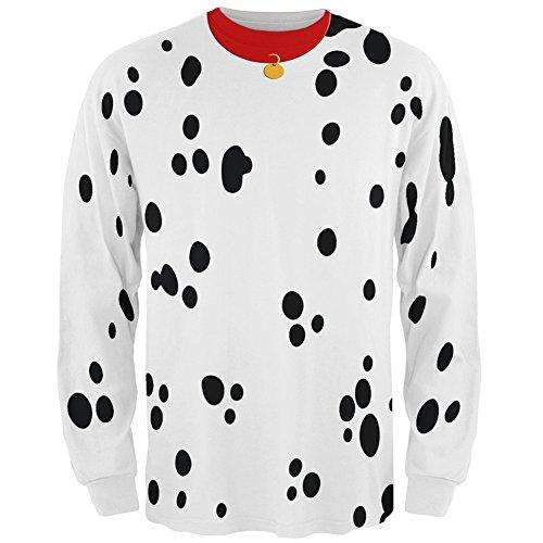 [Dog Dalmatian Costume Red Collar All Over Adult Long Sleeve T-Shirt - Medium] (Pet Dalmatian Costumes)