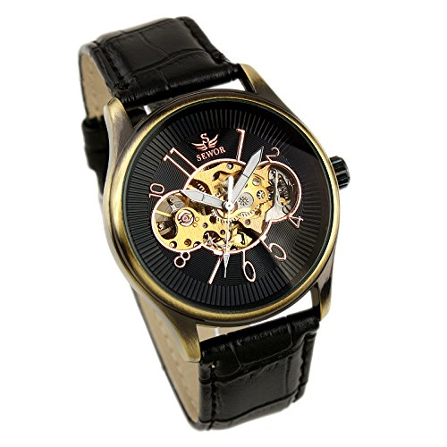 Mens Watch Automatic Mechanical Black Artificial Leather Skeleton Analog Luxury