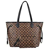 Micom Korean Womens All-over Printing Pu Leather Tote Handbags Shopping Bag with Clutch Purse (Coffe C)