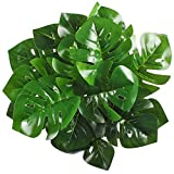 Artificial Shrubs, Hogado 2pcs Tropical Imitation Plants Faux Silk UV Protected Monstera Leaves Bushes Simulation Greenery Bushes Indoor Outside Home Garden Office Verandah Wedding Decor