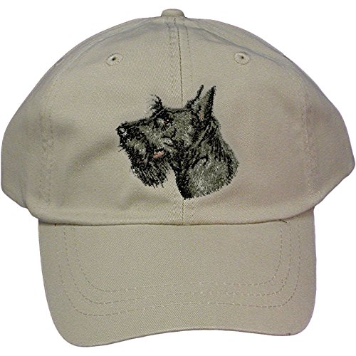 - Cherrybrook Dog Breed Embroidered Adams Cotton Twill Caps - Stone - Scottish Terrier
