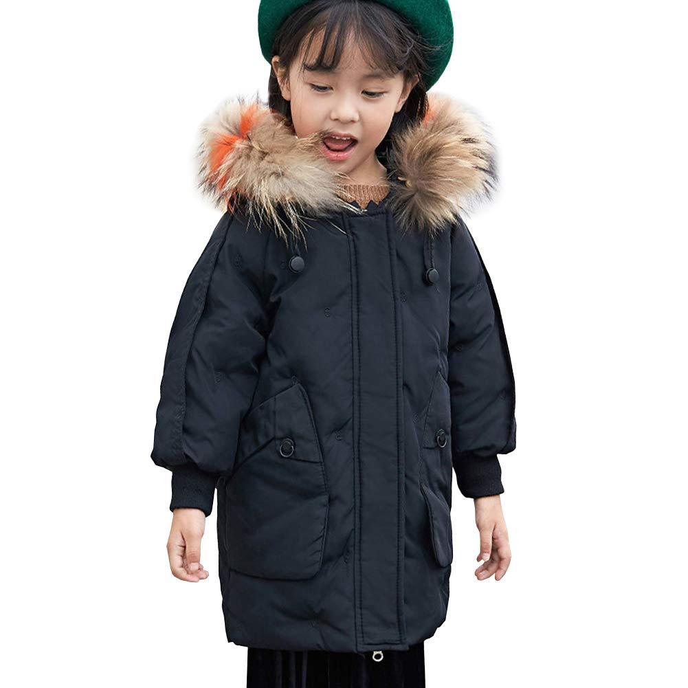 Noir 7-8 ans SXSHUN Enfant Garçon Fille Manteau Doudoune Duvet Blouson à Capuche Fourrure Poches Parka Rembourré Veste d'hiver Epaisse Coupe Vent
