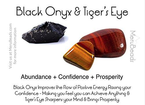 X-Large Tiger's Eye Yellow & Matte Onyx Wrap Bracelet for Men - Tigers Eye Yellow Bracelet - Onyx Bracelet for Men - Tigers Eye Wrap Bracelet by MeruBeads (Image #1)