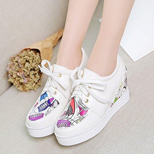 Mee Shoes Damen hidden heels runde Schnürhalbschuhe Weiß