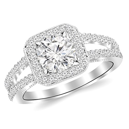 2.1 Carat t.w. ROUND Shape/Center Designer Split Shank Halo Style With Milgrain CZ Engagement Ring -