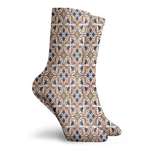 High Ankle Crew Socks Moroccan Arabesque Scroll Tile Work Socks