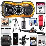 Ricoh WG-50 Waterproof/Shockproof Digital Camera (Orange) with 32GB Card +...