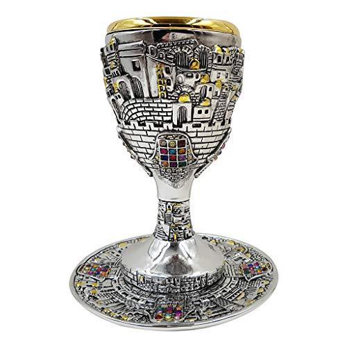 Silver Plated KIDDUSH CUP with Matching Tray Jerusalem Hoshen Stones Jewish Shabbat Set Judaica Gift