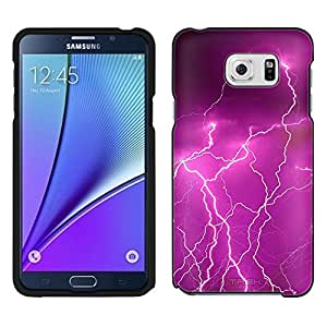Samsung Galaxy Note 5 Case, Snap On Cover by Trek Magenta Lightening Storm Case